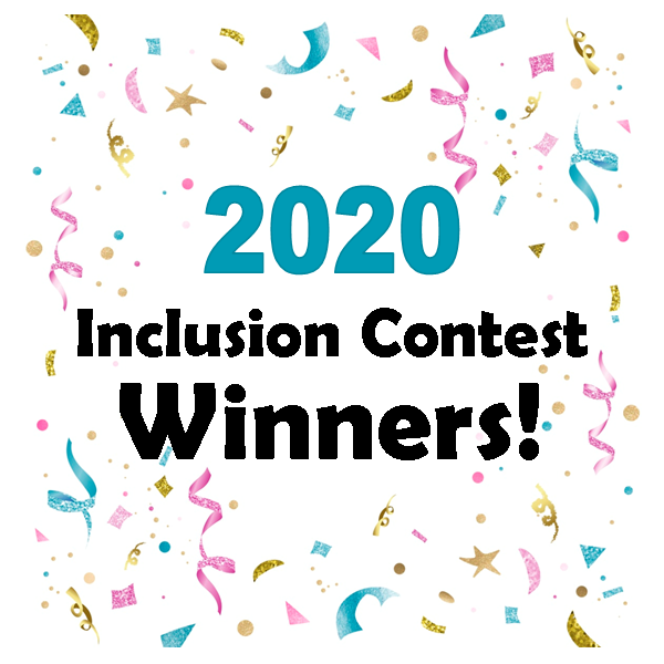 Picture Link to our 2020 Inclusion Contest Winners Post - with a background of confetti