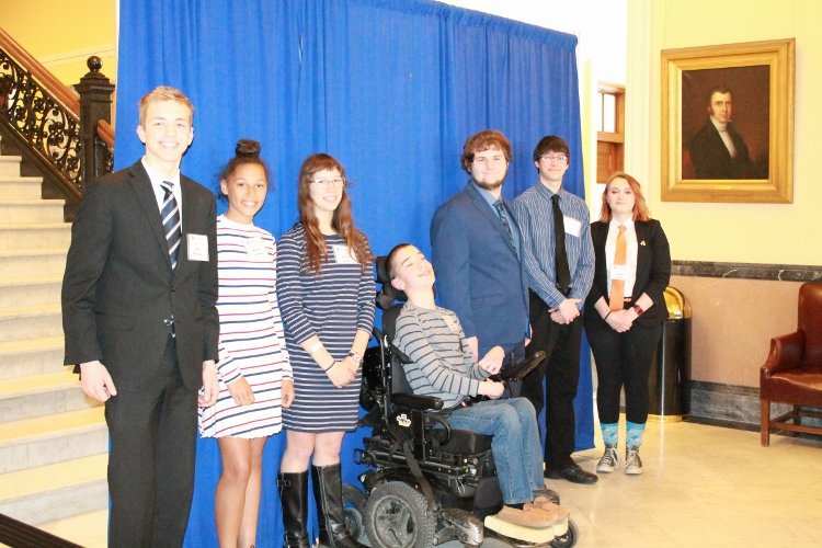 Winners of the Essay and Art Contest - from left to right, Sam Peterson, Maddie Beckwith, Galina Fallon, Nicholas Alexander, Ben Burgess, Seth Tapley, and Reagan Davis