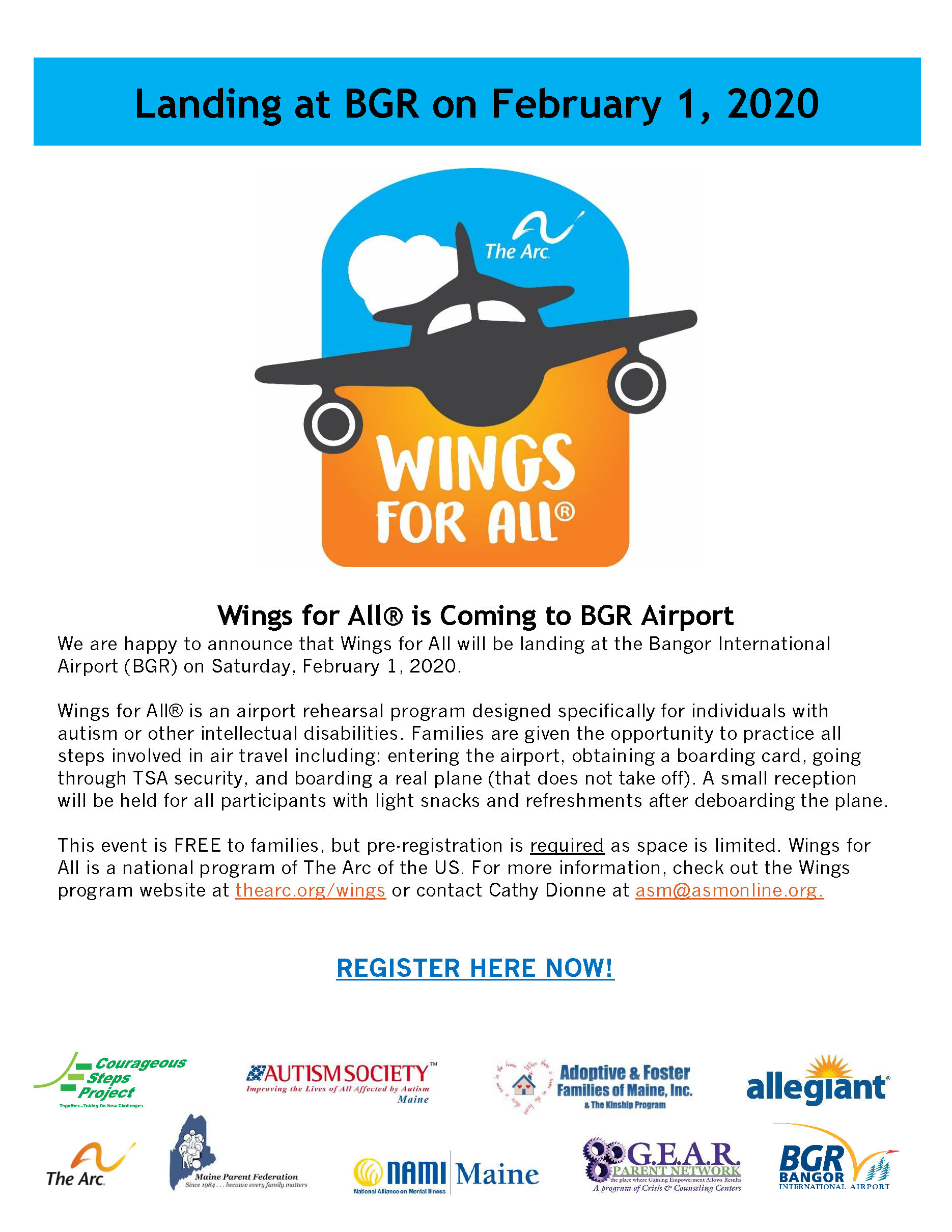 Wings for All Bangor Airport Poster - see below for poster text