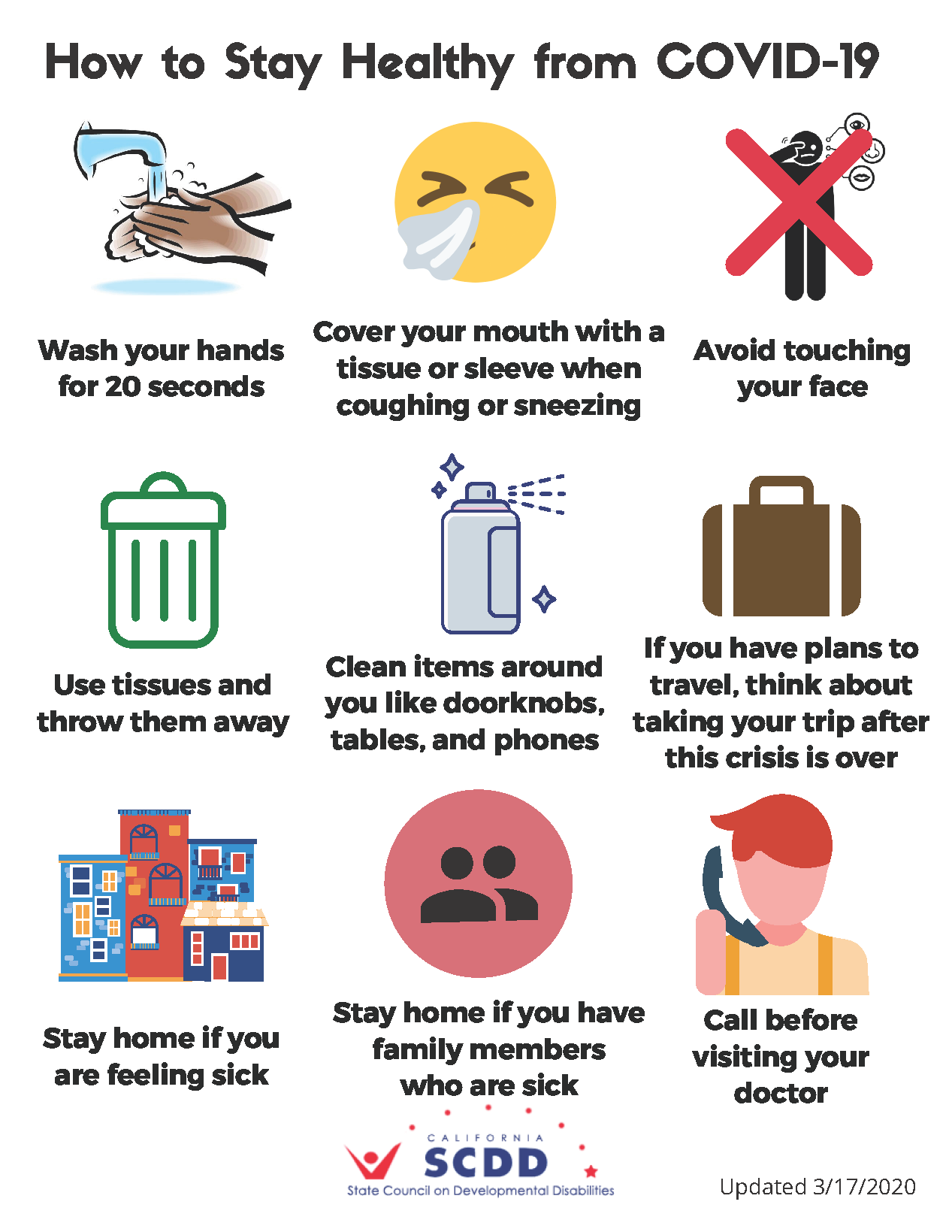 Plain language infograph from SDCC (California DD Council) on best practices to prevent the spread of germs